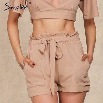 Simplee Summer New Style Chiffon Shorts Bow High Waist  Belt Shorts Solid Color Pocket Casual Women Shorts