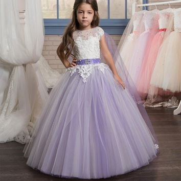 Custom Made Elegant Lace Flower Girl Dress Amazing Cape on Back Sleeves Scoop | Purple Pink Tulle Ball Gowns | Belt Communion Dresses 1-14 Year