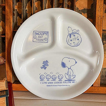 Snoopy Divided Plate, Snoopy Plate, Snoopy Child Plate, Childrens Plate, Peanuts Movie, Charlie Brown, Child Corning ware, Corning Corelle