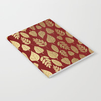 Gold Leaves Pattern Notebook by Tanyadraws