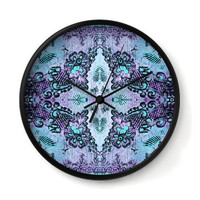 Rose Lace Wall Clock in violet purple and blue
