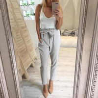 Chiffon high waist harem pants Women stringyselvedge summer style casual pants female 2016 New black trousers Plus size