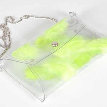 Clear Bag clear clutch envelope bag with neon yellow lime lemon real feather transparent purse envelope with chain crossbody prom wedding