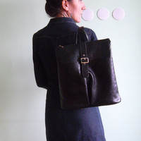 Genuine Leather 90s Black Backpack, Made in Italy, Medium Knapsack, Womens Rucksack, Business Organizer, Shoulder Bag, Office Briefcase