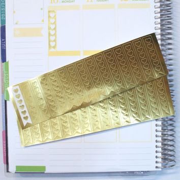 30 Gold Foil Heart Cut Out Checklists Planner Stickers (Skinny) (P015)