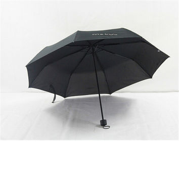 Pure Colour Folding Umbrella Compact Light weight Anti-UV Rain Sun Umbrella Black
