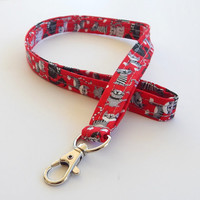Cat Lanyard / Cat Lovers / Kitty Keychain / Cats / Key Lanyard / ID Badge Holder / Black & White Cats / Red Lanyard / Kittens / Veterinarian