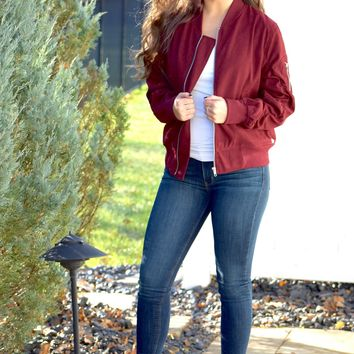 Ruched Sleeve Suede Bomber Jacket