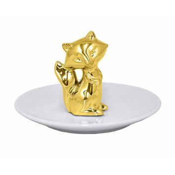 68483 Ceramic Fox Figurine with Plate - Gold - Benzara