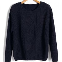 Navy Cable and Diamond Knit Sweaters