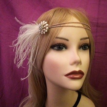 1920s gatsby feather 1920 flapper velvet headband head piece band hair ostrich feather flower rhinestone 20's 1920's rhinestones 20s style