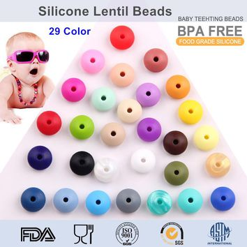 Chenkai 100pcs BPA Free Silicone Abacus Teether Pendant Lentil Beads DIY Nursing Baby Pacifier Teething Jewelry Toy Accessories