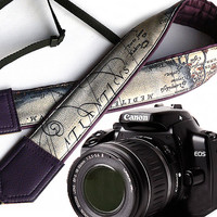 Dark purple DSLR Camera Strap. World Map Camera Strap. Camera accessories. Photographer gift. Map. Vintage map camera strap.