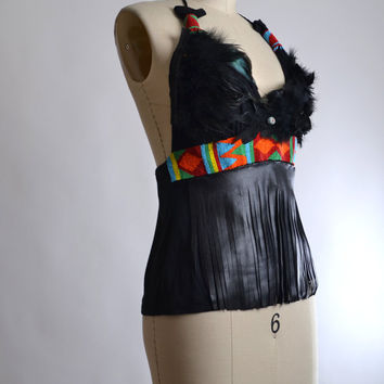 Feather and Leather Halter Top - Festival Clothing - Native American Clothing - Festival Fashion - Beaded Hippie Halter Top