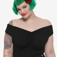 Black Cinch Front Girls Off-The-Shoulder Top Plus Size