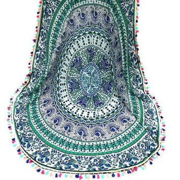Round Hippie Tassel Tapestry Beach Throw Towel Yoga Mat Bohemian