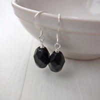 Black bead earrings minimal earrings women large faceted bead elegant earrings