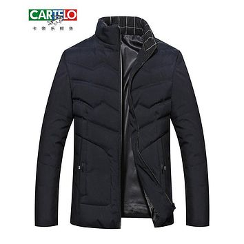 CARTELO Winter men new fashion Pickle color men's business 90% white Duck Down Jackets stand collar Jacket Men Casual FB09137G03