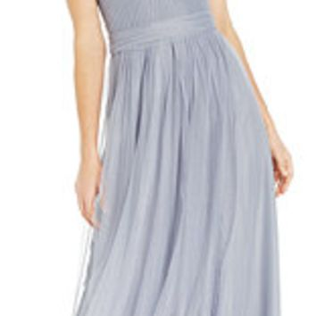 Adrianna Papell Pleated Strapless Tulle Gown