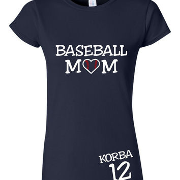 Free Customization BASEBALL MOM T Shirt With Childs Name & Number Womens Unisex fit T Shirt Team Colors Little league Junior Miss Moms Dads