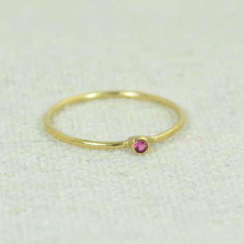 Tiny Gold Filled Ruby Ring