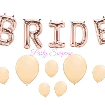 Rose Gold Bride Garland Balloons Pink Blush Balloons Bridal Shower Wedding Engagement Party Rehearsal Dinner Bride Garland Rose Gold Letters