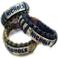 Unity Cuffs (Single) - Custom 550 Paracord Bracelet With Military Nametape