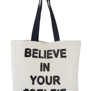 Designer Canvas Tote Bag - Believe In Your Selfie