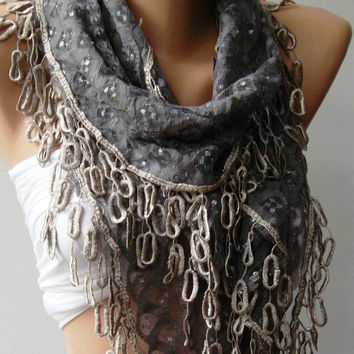 Grey  Lace and Elegance Shawl / Scarf-