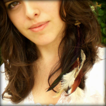 Clip Maroon and Cream Feather Hair Extension by donaarg on Etsy