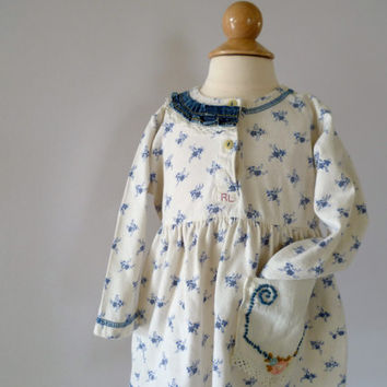 Country Girl Eco Chic Dress. Farmhouse Baby Dress. Floral & Vintage Crochet for a Timeless Toddler Couture. Weekend Outfit. Back to School