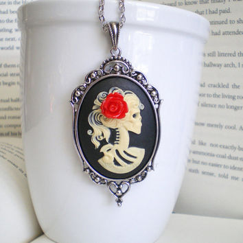 Halloween Necklace, Skeleton Necklace, Cameo Jewelry, Gothic Wedding, Fall Fashion, Cameo Necklace, Halloween Costume Jewelry.