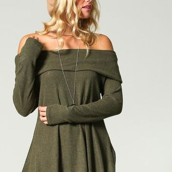 Pretty Cozy Off Shoulder Top - Olive