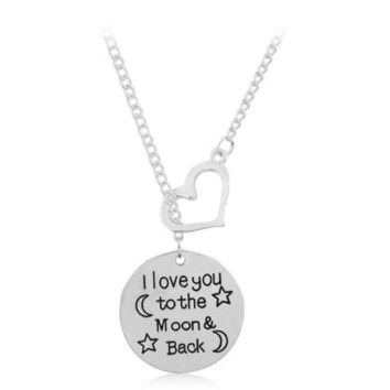 I Love You To Moon&back Moon Star Heart Shape Pendant Necklace Great Gifts