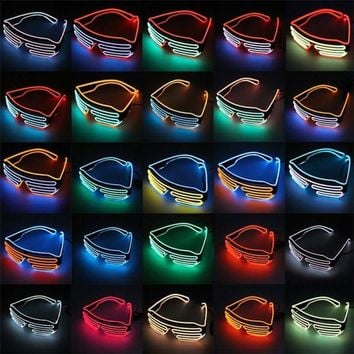 LMFON EL Glasses El Wire Fashion Neon LED Light Up Shutter Shaped Glow Sun Glasses Costume Party DJ Bright SunGlasses Color Random
