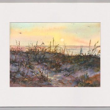 """SEASCAPE WATERCOLOR by Linda Henry - """"Walk With Me"""" - Miniature Painting - 5""""x7"""" - Ready to Frame - Includes a Custom Mat (#450)"""