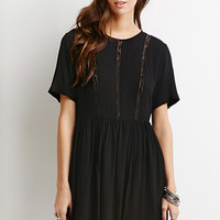 Lace-Paneled Smock Dress