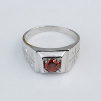 Unique Red Garnet White Gold Finish Men Solid 925 Sterling Silver Simple Style Engagement Rings R510
