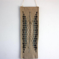 White wall hanging with gray motifs unique piece of art handwoven from pure wool