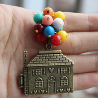 Vintage Flying House Necklace Up Movie Necklace Jewelry Beadwork Balloon Colorful