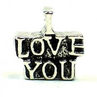 "Antique Silver Plated ""I Love You"" Pandora Style Bead Charm:Amazon:Arts, Crafts & Sewing"