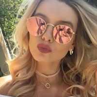 Classic Vintage Gold Round Sunglasses Women Fashion Brand Designer Steam Punk Sun Glasses Men Metal Frame Mirror Female Shades