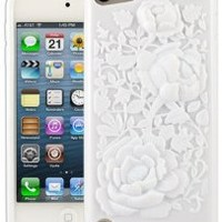 HHI 3D Rose Graphic Skin Case for iPod Touch 5th Generation - White (Package include a HandHelditems Sketch Stylus Pen)