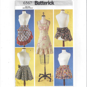 Butterick 6567 Pattern for 4 Aprons, From 2001, FACTORY FOLDED and UNCUT, Bib, Ruffled, Gathered Apron, Home Sewing Apron, Kitchen Apron