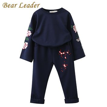 Girls Clothing Sets New Autumn Sets Kids Clothing Flowers Embroidered Sweatshirts Pants 2Pcs