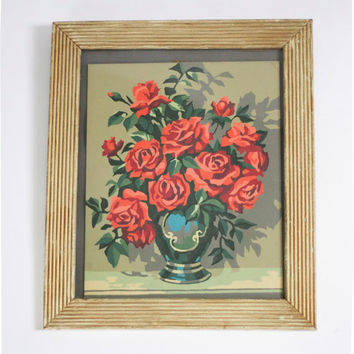 Vintage Rose Paint By Number . Midcentury Home Decor .
