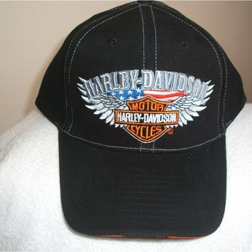 Harley Davidson-Cycle/Biker new black ball cap with Silver Wings logo & tags