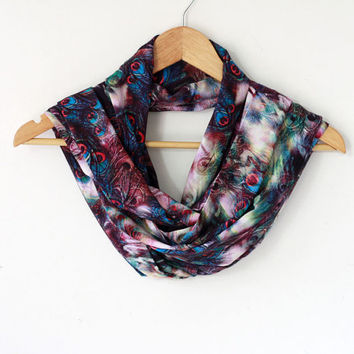 Infinity scarf - galaxy and peacock art print - loop scarf - novelty scarf