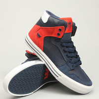 Vaider Navy Perf Leather Sneakers by Supra