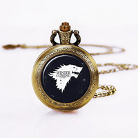 game of thrones  POCKET Watch Necklace ,winter-is-coming ,Vintage game Pocket watch necklace ,Daughers Necklace